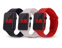 mens relógios de borracha quadrados venda por atacado-Projeto quadrado unisex mens mulheres esporte de borracha de silicone led touch digital relógio atacado estudantes de moda esporte pulseira relógios