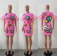 Wholesale mini scoops - New Style Fashion Print Dress Women Short Sleeve Slim Bodycon Dress Novelty Pattern Women Sexy Short Dress