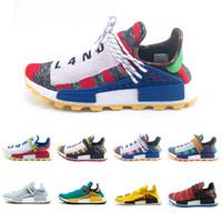 Wholesale glow dark glitter for sale - Cheaper New Human Race Creme x NERD Solar PacK Running Shoes Afro Hu sun glow Yellow trainers Mens Women Sports Sneakers Shoes