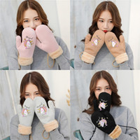 Wholesale warm mittens for kids resale online - Cute Unicorn Gloves For Students Kids Girls Pink Panther Gloves Warm Soft Halter Winter Women Unicorn Mittens Christmas Gifts