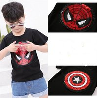 Wholesale t shirts boys spiderman - Spiderman Captain Reversible Sequins T-shirt bling change design Tee Tops for Kids Boys Girls Summer Embroidered Reverse Patch T Shirts 2018
