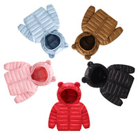Wholesale 5t nylon for sale – best Winter Hooded Down Coats Kids Polyester Nylon Winter Filling White Duck Down Zipper Jackets Solid Elastic Sleeve Casual Warm Ears Clothes