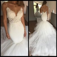Wholesale Spaghetti Strap Skirt Top - Charming Spaghetti Straps Mermaid Wedding Dress Lace Top Tiered Tulle Skirt Sexy V Neck Backless Wedding Bridal Gowns 2018 New Arrival