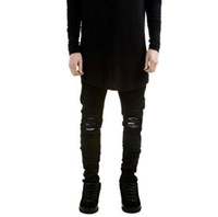 jeans tyga rasgado venda por atacado-Rasgado jeans para homens magro Afligido magro famosa marca designer biker hip hop swag tyga branco preto jeans kanye oeste