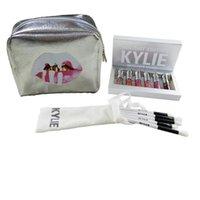 Wholesale lipstick making set - Kylie Cosmetics Holiday Edition 6pcs set Matte Liquid Lipsticks +Sliver Kylie Jenner Make Up Bag +5pcs set Kylie Brushes
