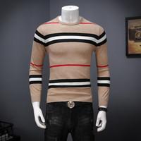 Wholesale Knit Striped Shirt - Autumn and winter new big striped crew neck sweater men's hemp long-sleeved sweater Slim knit primer shirt men's shirt