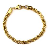 bracelets mens hanche achat en gros de-Mens 18k or plaqué corde Bracelet Hip Hop Bling printemps 8.66 pouces Femmes Hommes Bijoux avec Anniversaire
