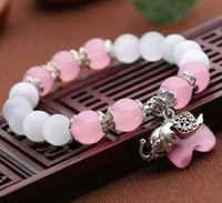 ingrosso bracciali opali bianchi naturali-Braccialetto di opale bianco naturale autentico 10mm con occhi di gatto rosa Bracciale di elefante tibetano Fabbrica di gioielli femminile dritta