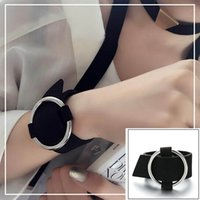 Wholesale velvet wrap bracelet resale online - RAVIMOUR Fashion Leather Bracelets for Women Punk Wide Bracelet Bangle Jewelry Big Circle Round Wrap Velvet Black Red Armband
