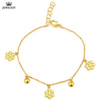 Wholesale gold beautiful bangle resale online - 24K Pure Gold Bracelet Real Solid Gold Bangle Simple Beautiful Snowflake Trendy Classic Party Fine Jewelry Hot Sell New
