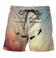 yo abordo al por mayor-Voy a Neverland Shorts Hipster 3D de dibujos animados Neverland Beach Shorts para hombre Moda Streetwear Board Shorts