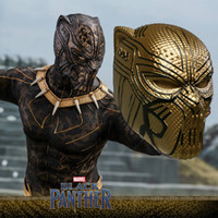 Wholesale movie prop mask - BFJ 2018 Hot Movie Black Panther Mask Cosplay Golden Panther Leopard Helmet Mask Halloween Cosplay Party Masks Props New