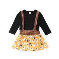 ingrosso ragazzi lunghi tuto nero-2018 Nuovo di zecca Toddler Baby Girl Girl manica lunga Black Top + Halloween Strap Tutu Dress Outfits Set 0-24M