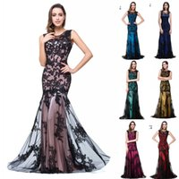 Wholesale Black Women Models - Real Image Sexy New Sheer Tulle Sleeveless Mermaid Evening Dresses Black Lace Applique Formal Party Women Floor Length Prom Gowns CPS015