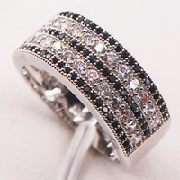 Wholesale resin rings free shipping - Black Sapphire Simulated Diamond 925 Sterling Silver Woman Ring Size 5 6 7 8 9 10 11 12 Wholesale Jewelry Free Shipping