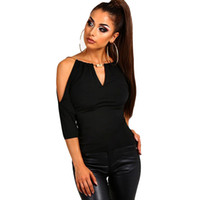 siyah bluz moda toptan satış-Moda Soğuk Omuz Bluz Kadınlar Casual Tops Siyah V Yaka Ofis Gömlek Yaz Seksi Bayanlar Bluzlar Gevşek Giysiler Femme Blusas