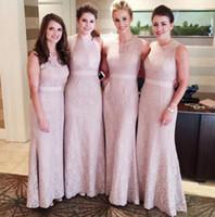 modestas vestidos de dama de honra coral venda por atacado-Mulheres Modest Flesh Rosa Pescoço Rendas Sereia Sexy Longo Dama De Honra Vestidos Em 60 $