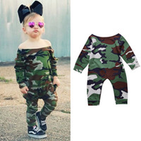 Wholesale Long Sleeve Baby Bodysuit 24 - Newborn Baby Girl Jumpsuit Toddler Kids Girl Camouflage Romper Playsuit Bodysuit Outfits 0-24 Infant Clothing Onesies