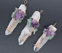 doğal beyaz kuvars kristali toptan satış-Kolye Kolye Zincir Hayat Ağacı Beyaz Kristal Kuvars Doğal Taş Altıgen Prizma Sihirli Reiki Takılar Wicca Cadı Muska Takı yok zincir