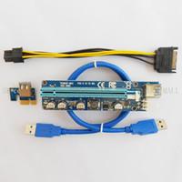 adaptador para elevador al por mayor-Para BTC Ver 008C 60cm USB 3.0 PCIe Riser Card PCI-E Express 1x a 16x Extender Riser Card Adaptador USB SATA 15Pin-6Pin Power Blue Black Cable