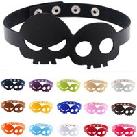 Wholesale women halloween costumes leather for sale – halloween Skull Necklace Ghosts Halloween Make Up Color Leather Women Designer Necklaces For Cosplay Fashion Party Decoration Prop kf ff