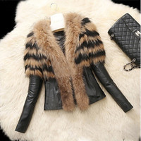 кожаные шубы женские оптовых-2017 мода зимняя куртка теплое пальто Женская верхняя одежда из искусственного меха пальто кожа верхняя одежда длинные Леди парки куртки черный