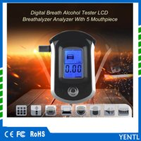 Wholesale digital alcohol - firee shipping 2018 High Sensitivity Alcometer professional ALC Smart Breath Alcohol Tester Digital LCD Breathalyzer Analyzer For Drivers