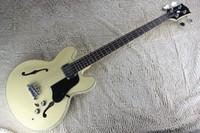 Wholesale Custom Jazz Bass - free shipping Top Quality Lower Price Custom Rice yellow jazz Hollow Body 4 String jazz electric bass guitar