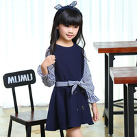 Wholesale korean style for winter - New Arrive Korean version girls Dress Patchwork skirt for autumn Kids lovely pure color children's suit fashiong clothes