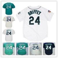 Wholesale Griffey S - men's Seattle #24 Ken Griffey Jr Green Black Gray White Blue Jersey Wholesale Baseball Jerseys Stitched
