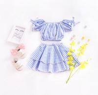 Wholesale kids bubble shorts - Ins 2 Pieces Kids clothing girl summer sets plaid print Bubble sleeve t shirt +skirt sets little girl dress fashion style sets