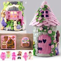 bolos de bolos de fadas venda por atacado-3D Fada Elf House Porta Bolo Mold Fondant Mold Chocolate Moldes De Doces baixo preço