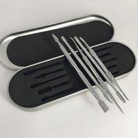 frigideira de vapor venda por atacado-5 estilo de aço inoxidável ferramenta vape dabber cera ferramenta vaporizador vape picareta para a erva seca dab ferramenta frigideira caneta kit de vapor