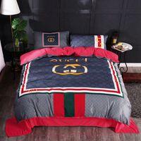 Wholesale designer king size bedding sets for sale - Factory PICS Luxury Designer G Bedding suits Solid Duve Plaid Bedding Sets BeddingSets Logo King Size Bedding Supplies