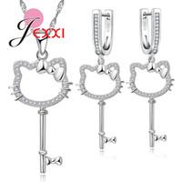 ingrosso gioielli pendent animal-Jemmin Fashion Animal Kitty Design Jewelry Set 1pc collana in argento pendent e 1 paio orecchini per Lady Girl migliore regalo