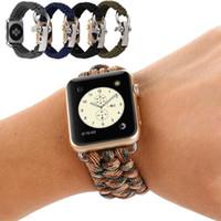 relogios pulseira de corda venda por atacado-Esporte Nylon Watch Strap para iWatch 4 3 2 1 Woven Umbrella Corda Pulseira Pulseira 38mm 40mm 42mm 44mm Relógio De Maçã