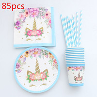 neue papierstrohhalme großhandel-85 stücke Einhorn Einweggeschirr Weihnachten Neujahr Party Pappteller Tassen Servietten Birthday Party Supplies Kunststoff Strohhalme