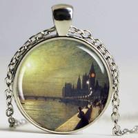 kristallpalast halskette großhandel-Westminster Palace Halskette, Harz Charme, John Grimshaw Kunst, Harz Schmuck, London England Art Runde Silber