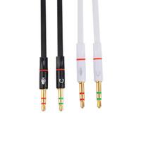 cabos de computador de maçã venda por atacado-Alta qualidade 3.5mm Mini Jack 1 Fêmea para 2 Macho (fone de ouvido + Microfone) Y Splitter Fone De Ouvido cabo de Áudio do computador Frete Grátis