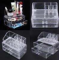 acryl schublade kosmetik veranstalter großhandel-Acryl Kosmetik Make-up Speicher Organizer Schublade Make-up Fall Lagerung Einsatz Lipstick Gloss Halter Box Regal Veranstalter