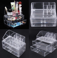 Wholesale drawer organizer acrylic box - Acrylic Cosmetic Makeup Storage Organizer Drawer Makeup Case Storage Insert Lipstick Gloss Holder Box Shelf Organizer