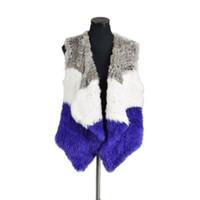 Wholesale knitted rabbit vest online - Pudi VR076 Knitted knit new real rabbit fur vest overcoat jacket women s winter warm genuine fur vest plus size winter vest