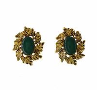 ingrosso prigioniero barocco dell'orecchino della perla-Orecchini a forma di foglia d'epoca barocca geometrica ovale pietra preziosa perlata Eardrop per le donne orecchini di prua gioielli orecchini accessori