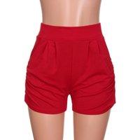 продажа летних дам оптовых-Горячие продажи женские летние шорты твердые свободные пляж Feminino середины талии Pantalones Леди широкая нога женские брюки для женщин #W