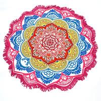 estera de yoga circular al por mayor-147 * 147 CM Ronda Yoga Mat Toalla Tapiz Borla Decoración Con Flores Patrón Mantel Circular Playa Picnic Mat