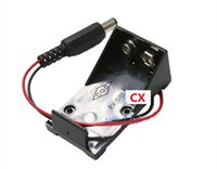 pil kutusu anahtarı toptan satış-6F22 pil düğmesi 9V pil kutusu, kapak yok, anahtar yok, DC5.5 * 2.1 kırmızı ve siyah çizgi