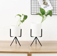 stands de fleurs de fer achat en gros de-Pot de fleur charnue nordique vase en fer forgé simple cadre de fer stand de fleur pot de fleur hydroponique en céramique vert planteur ensemble