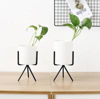 ingrosso fiori in vaso di ceramica-Vaso di fiori nordico carnoso vaso in ferro battuto semplice ferro telaio fiore stand ceramica idroponica vaso di fiori verde set di fioriera