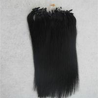 Wholesale micro loop link - Jet black Straight Micro Loop Ring Hair Extension 100G Remy Micro Bead Hair Extensions 1g strand Micro Link Human Hair Extensions
