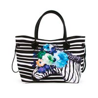 große einkaufstaschen großhandel großhandel-ROYALBLANKS Großhandel Blanks Blume Zebra String Handtasche große gestreifte Einkaufstasche Größe 55,8 * 19 * 30cm Streifen Zebra String Canvas Purse